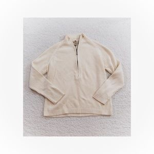 Woolrich ecru ivory half zip sweater Sz Small